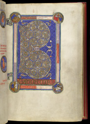 Psalm 1 with pictures of David, in a Psalter